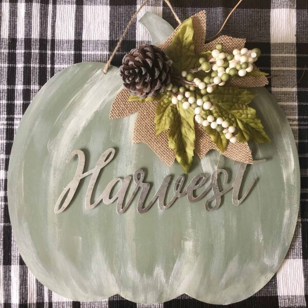 pumpkin shaped sign made from Dollar Tree items