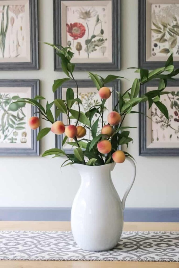 Peach blossom stems in pitcher