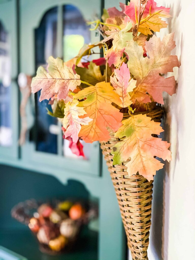 fall leaves in wall basket