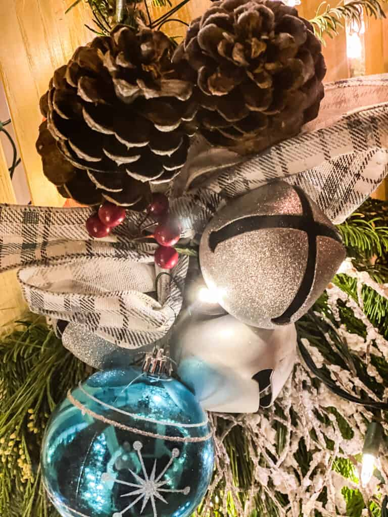 pine cones and ornaments