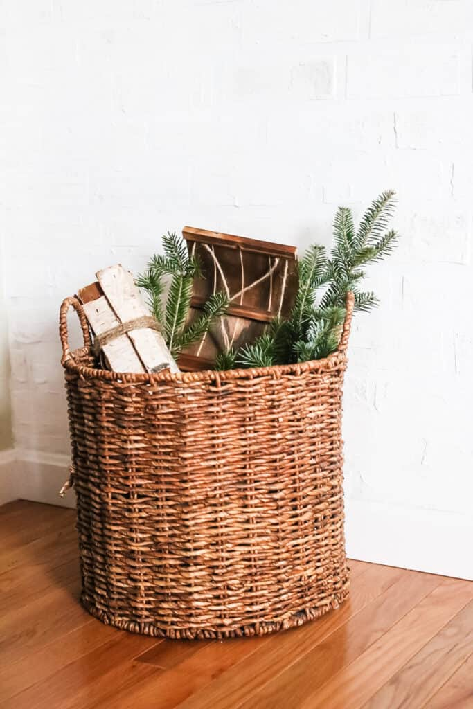 basket with sled and branches