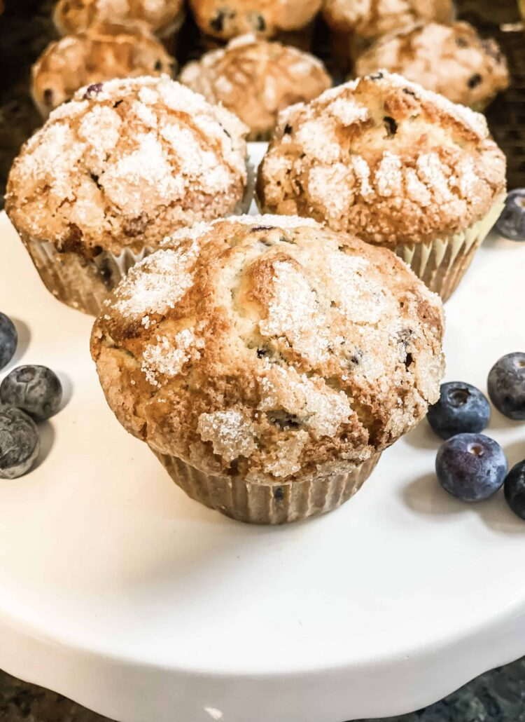 blueberry muffins on stand