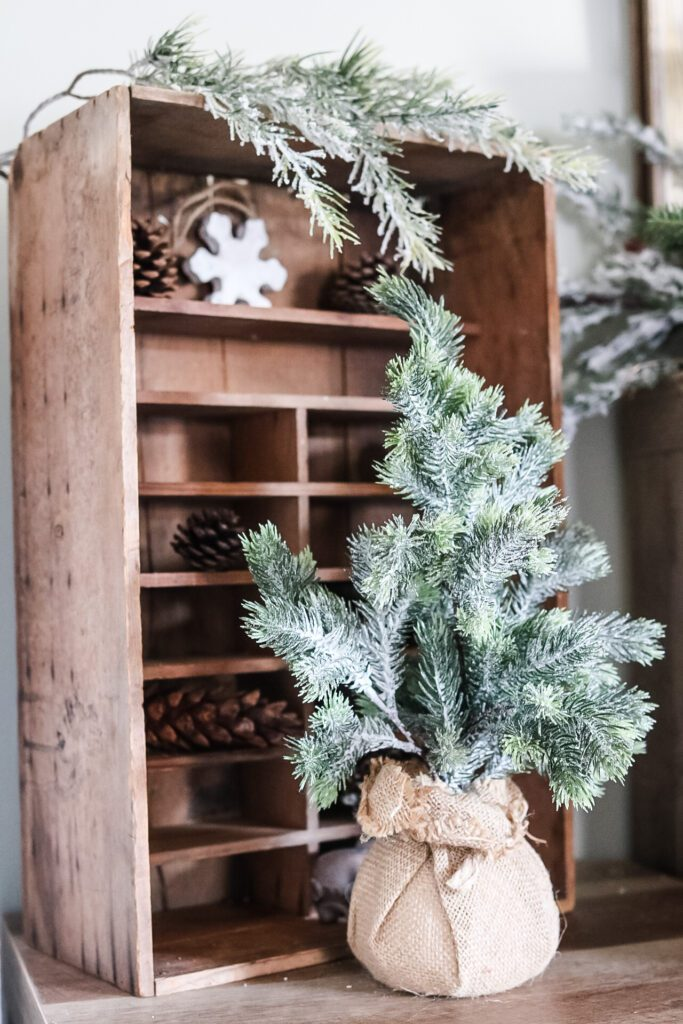 antique crate decorated for Christmas