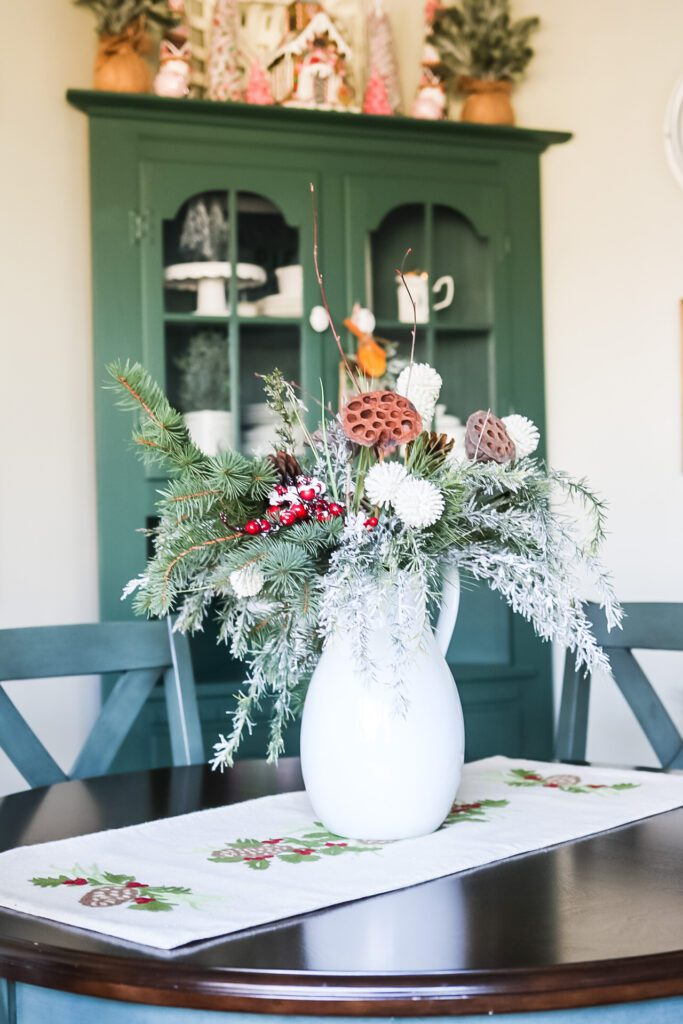 dining table and flowers