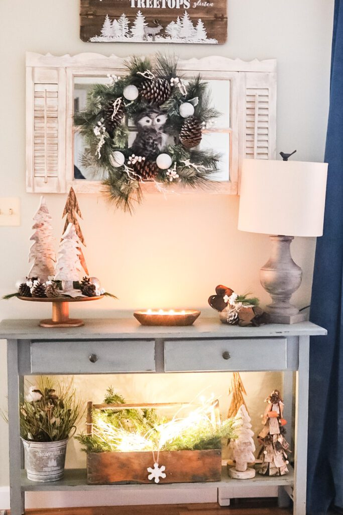 Cottage Christmas entryway table