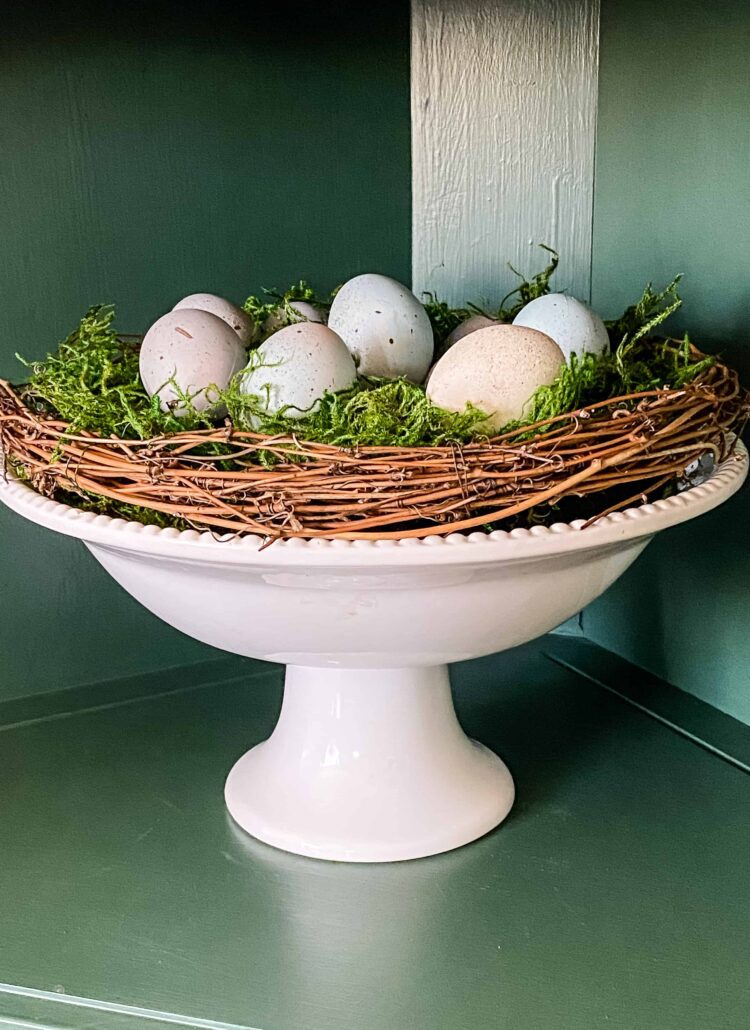spring display with speckled eggs