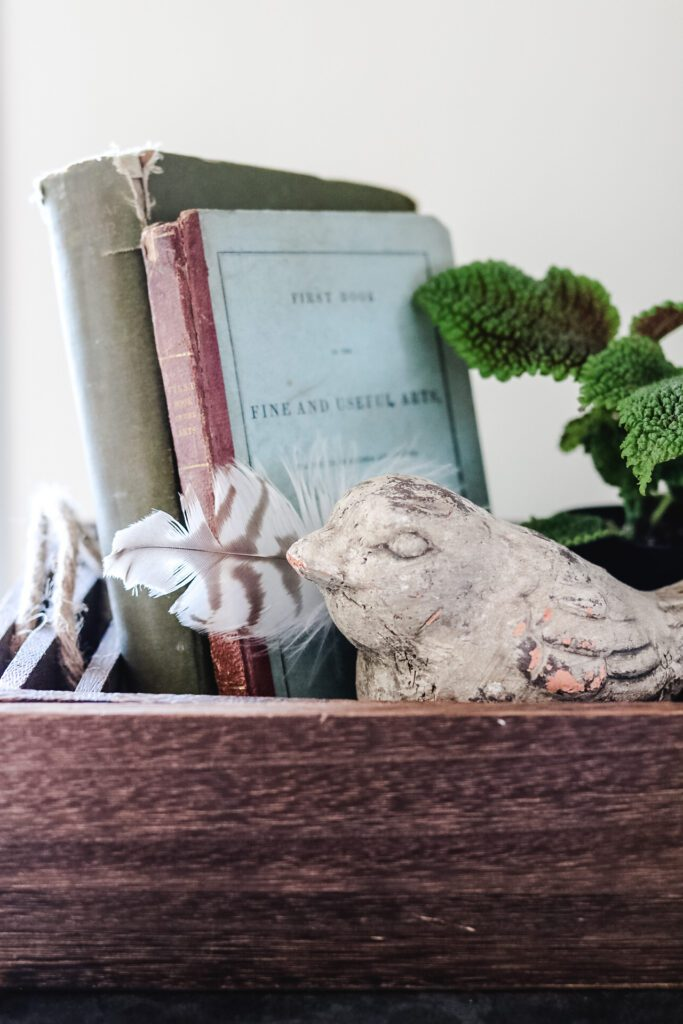 Spring Vignette with books, plant, and cement bird