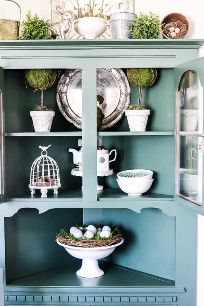 kitchen hutch decorated for Spring