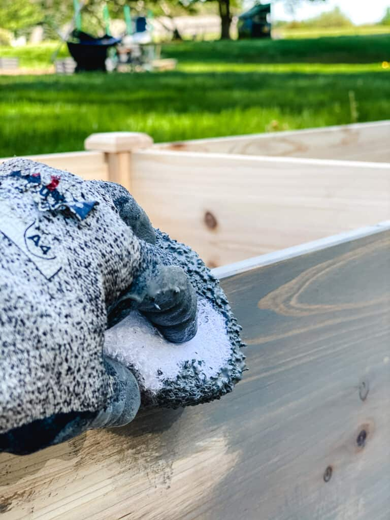 staining raised beds with Classic Gray stain