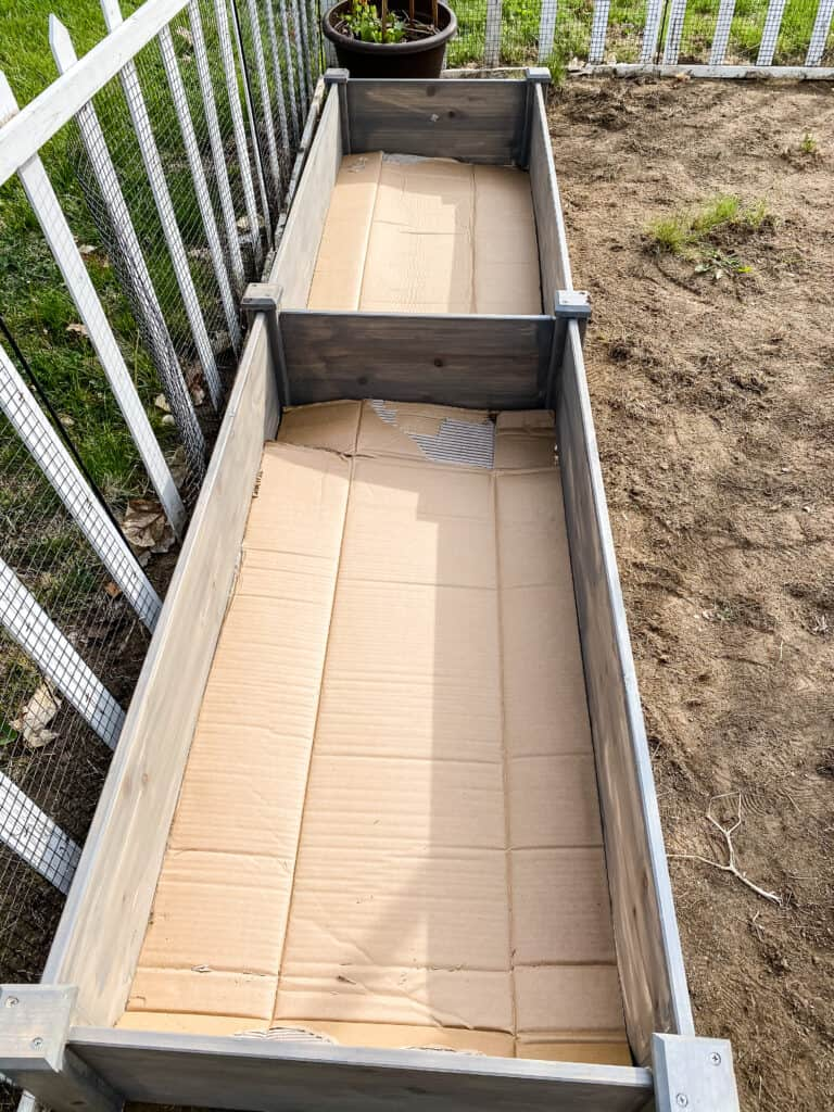 lining raised beds with cardboard