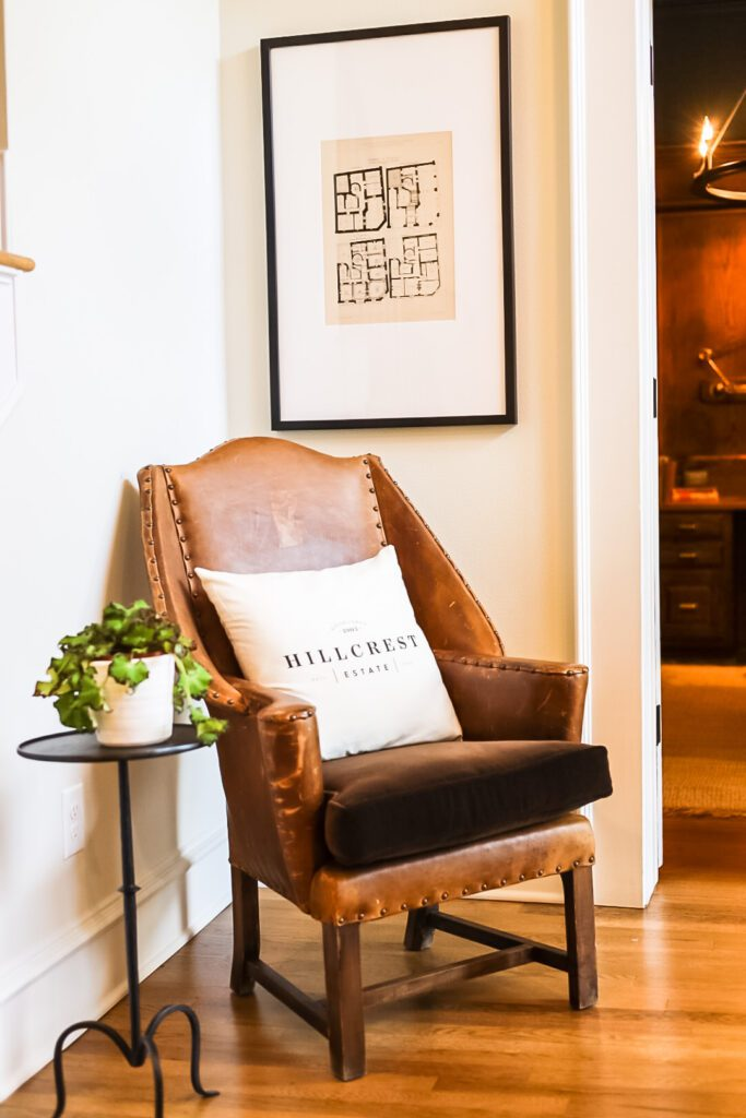 brown leather chair in entryway