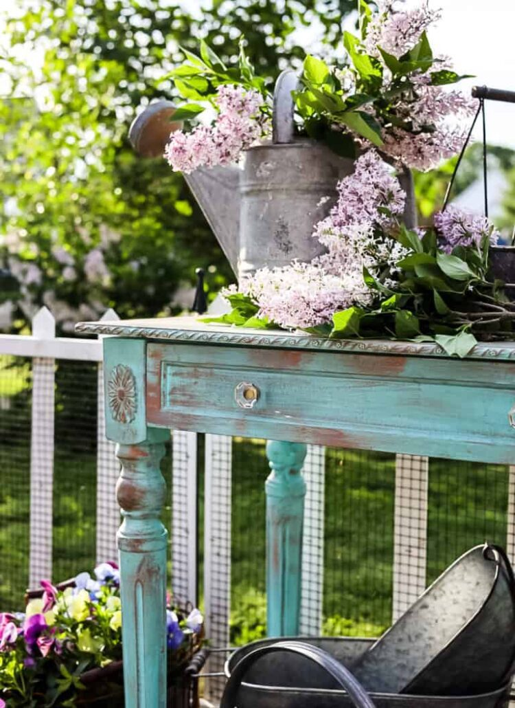 French Country style potting table