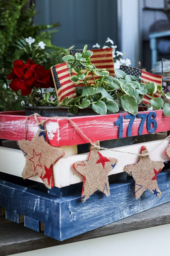 Patriotic wood crate with flowers