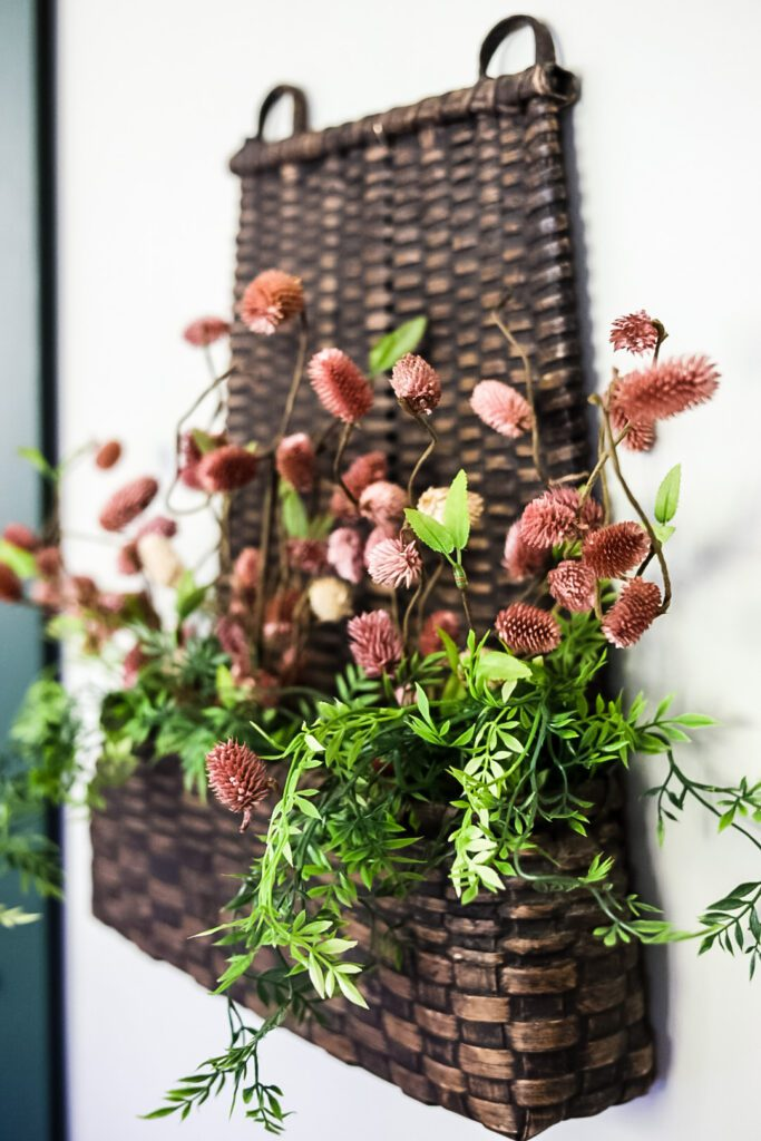 wall basket with flowers
