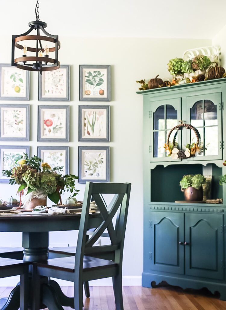 green kitchen hutch and table