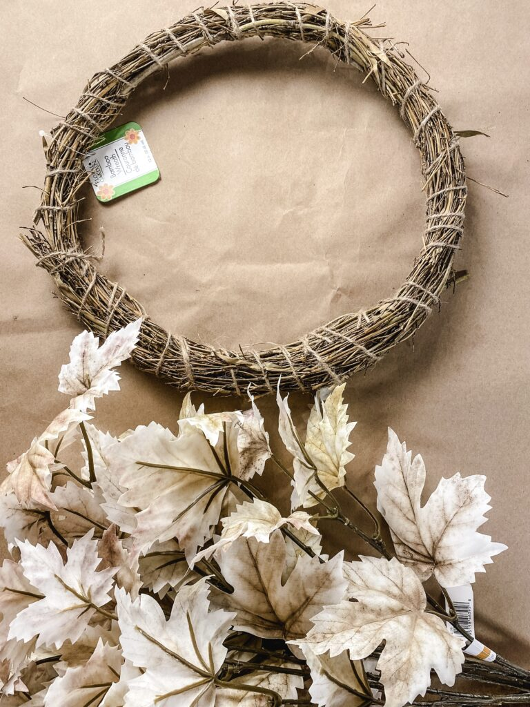 wreath and leaves