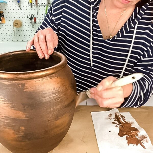 using copper paint on planter